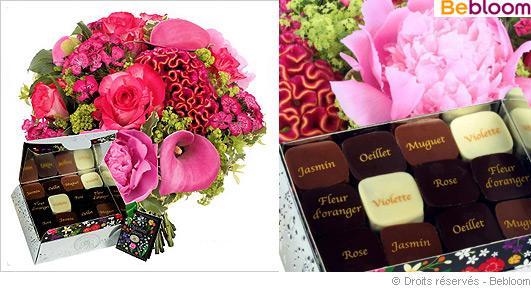 Bouquet fleurs et chocolat fetes des meres