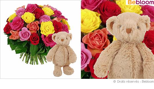 Offrir des fleurs naissance cadeau nounours