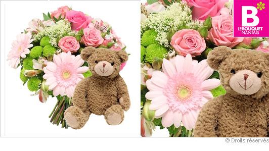 Bouquet de fleurs et nounours for Bouquet de fleurs pour une naissance