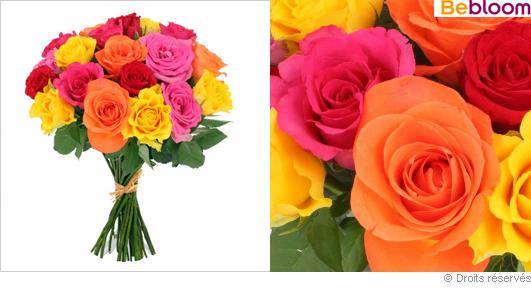 Livraison brassée de roses colorees