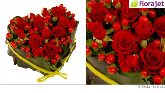 Coeur de roses ardantes