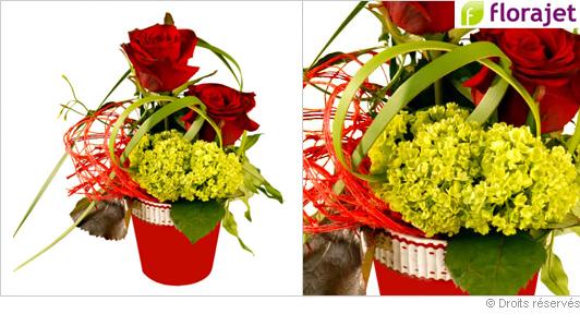Composition fleurs déclaration d'amour
