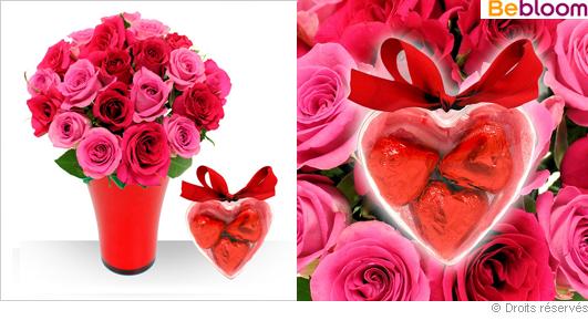 Roses rouges et coeur garni de chocolat