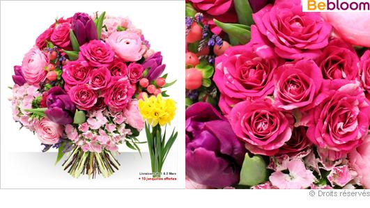Bouquet de fleurs variées aux couleurs roses pétillantes