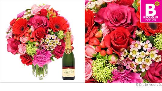 Bouquet de fleurs Saint Valentin et champagne Mercier