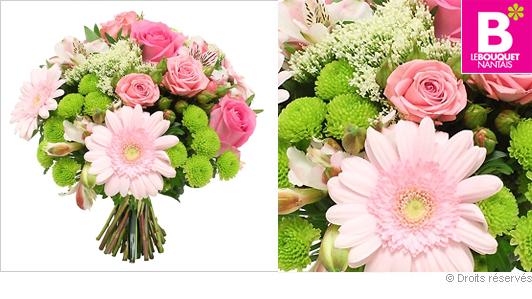 Bouquet fleurs roses Dolce Vita