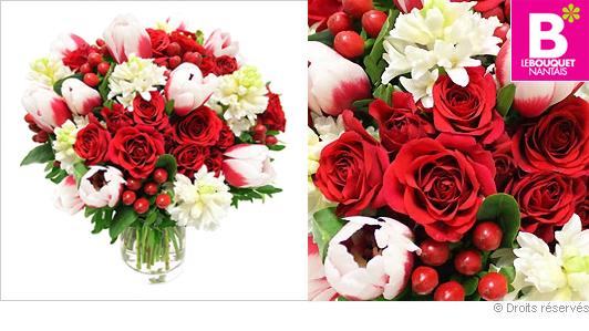 Bouquet de roses et tulipes pour la Saint Valentin