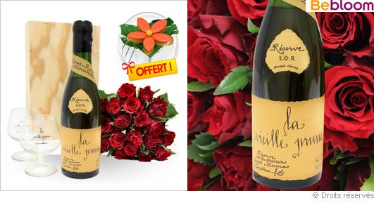 Cadeau dégustation Prune et bouquet de fleurs fête des pères