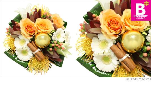 Bouquet de fleurs réveillon de noël en fêtes