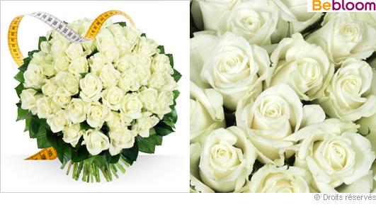 Bouquet de roses blanches sur mesure