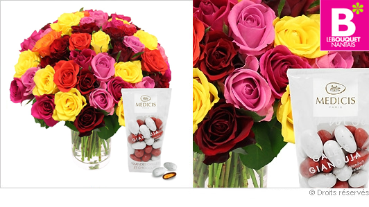 Bouquet de roses variées et amandes au chocolat