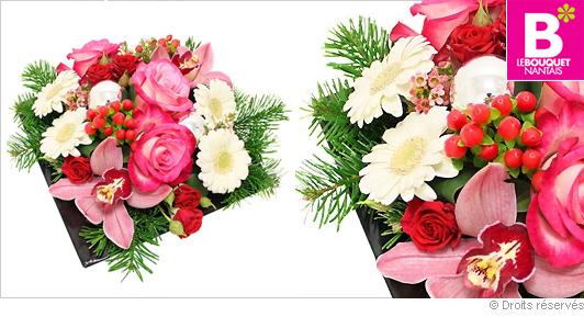 Composition fleurs décoration de noel