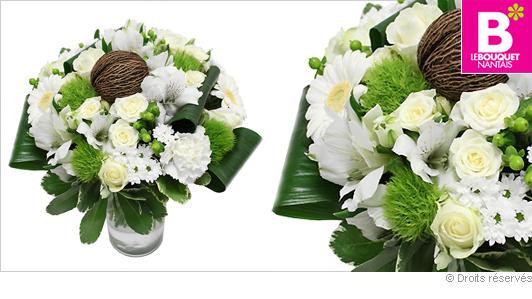 Livraison bouquet de fleurs blanches mariage, naissance