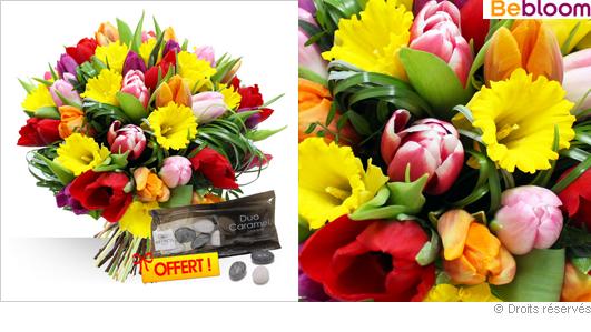 Bouquet de fleurs tulipes et jonquilles, fête des grand-mères