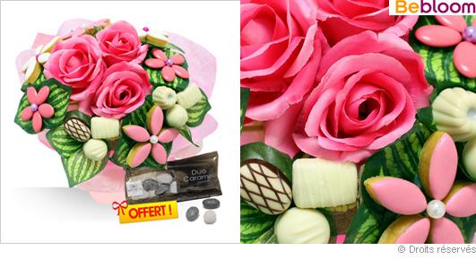 Bouquet gourmand grand mère, chocolats, calissons, dragées