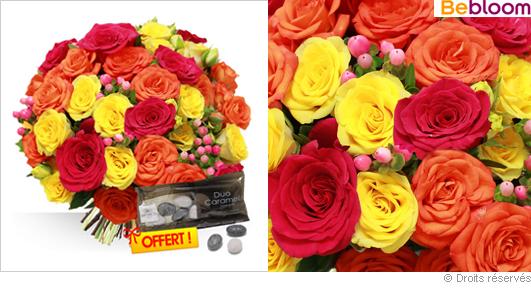 Livraison de roses couleurs chaudes fête des grand-mères