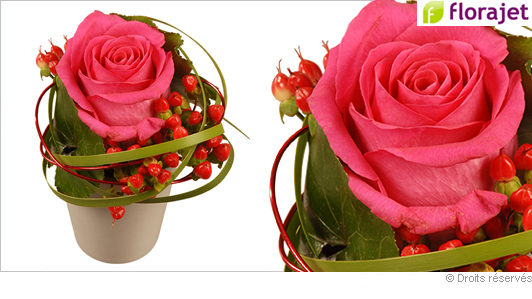 Envoyer une composition florale, perle rose