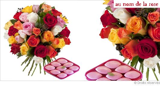 Livraison de fleurs, roses et calissons gourmands