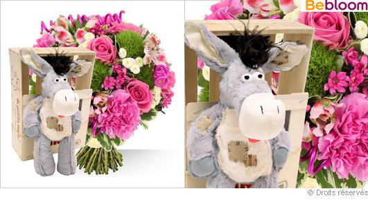 Offrir un cadeau de naissance garçon, fleurs et peluche