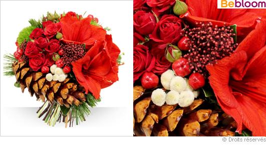 Bouquet de noël œillets amaryllis et pomme de pin