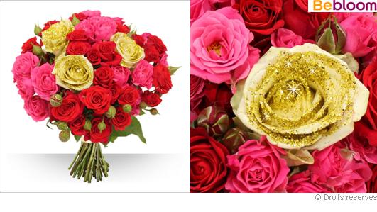 Bouquet de roses de Noel, roses et paillettes or