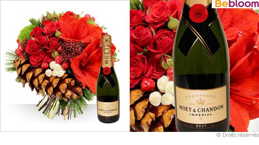 Livraison de fleurs et champagne pour les fêtes de Noel