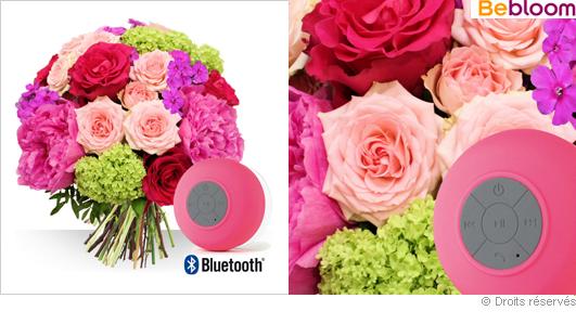 Bouquet de fleurs cadeaux enceinte bluetooth Fête des mères