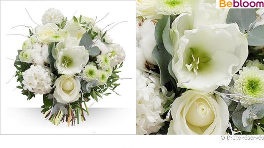 Livraison de fleurs, bouquet blanc hiver