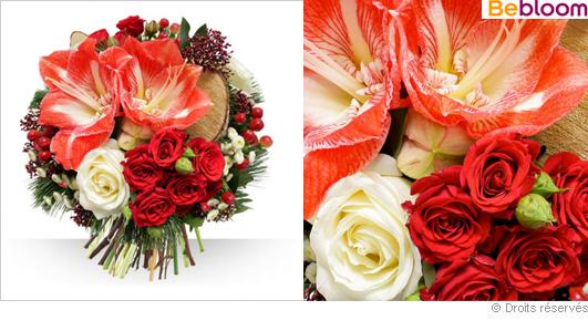 Livraison fleurs bouquet noël rouge et blanc