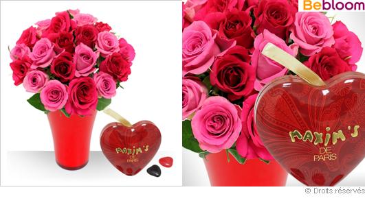 Offrir des roses et mini-cœurs chocolat Maxim's de Paris