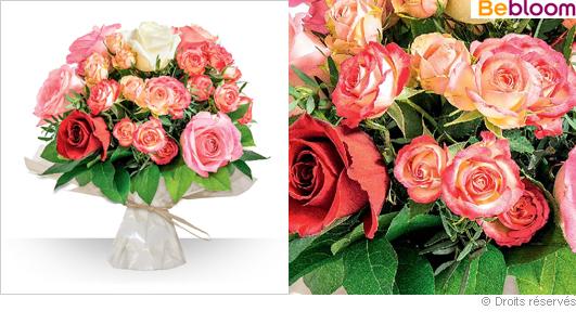 Livraison bouquet de roses teintes variées