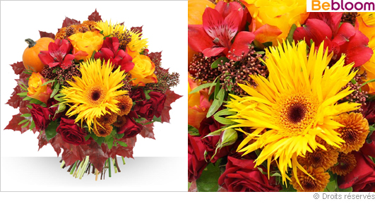 Livraison fleurs bouquet  couleur Automne
