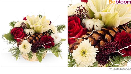 Livraison composition florale de Noel, corbeille de fleurs