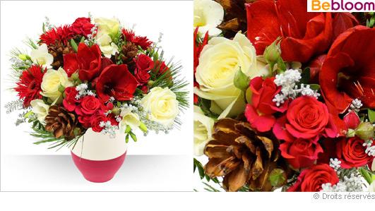 livraison-fleurs-noel-bouquet-et-vase