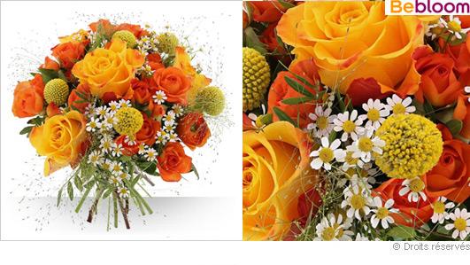Livraison bouquet de fleurs couleurs jaune orange Printemps